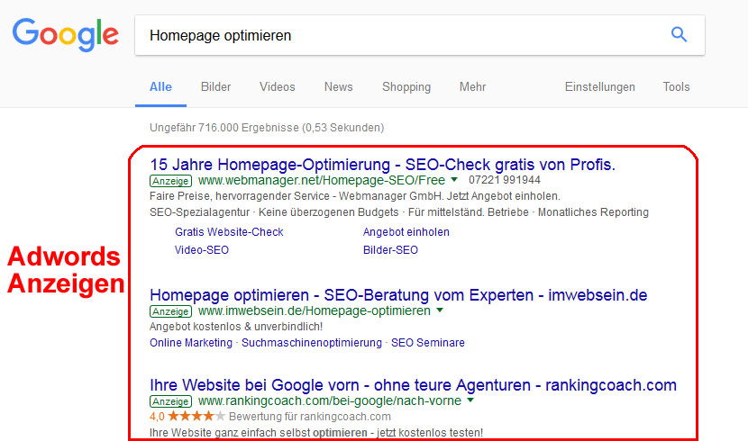 Adwords Optimierung durch Seomarketing in Hannover